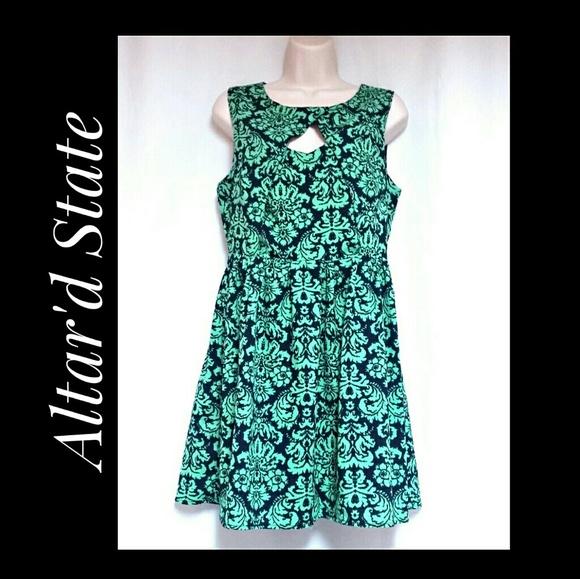 Altar'd State Dresses & Skirts - **SALE**Fit & Flare Mini-Dress Navy & Green